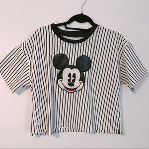 Crop Striped Mickey Tee